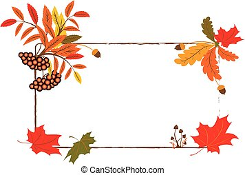 autumnal frame - vector autumnal frame with mushrooms,...