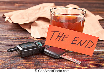 Message the end, alcohol, keys.