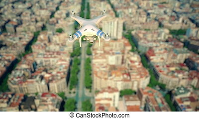 Aerial view of camera drone flying and filming above the...