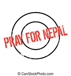 Pray For Nepal rubber stamp. Grunge design with dust...