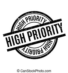 High Priority rubber stamp. Grunge design with dust...