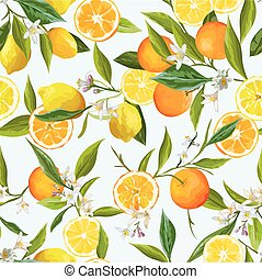 Orange and Limon Seamless Tropical Pattern in Vector. Illustration of Flowers, Leaves and Fruits.