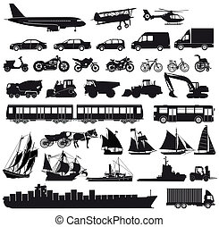 Transport- - Set of cars, truck, bus, ships, bicycles,...