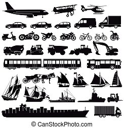 Transport-.eps - Set of cars, truck, bus, ships, bicycles,...