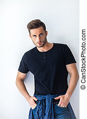 Handsome sexy man in stylish casual clothes