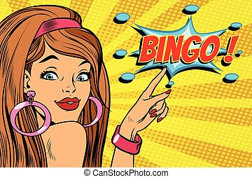 pop art woman bingo. retro vector illustration
