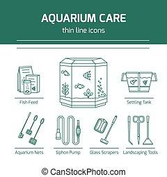 Thin line vector icons - aquarium care tools. Outline...