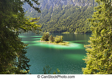 Lake Eibsee Island Near Garmisch, Germany - Lake Eibsee with...