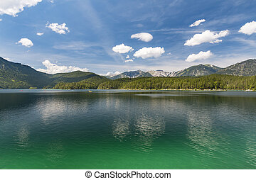 Eibsee And Mountains, Germany - View over lake Eibsee in...