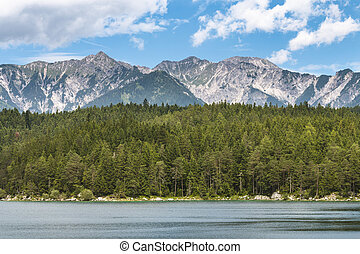 Lake Eibsee And Mountains, Germany - View over lake Eibsee...