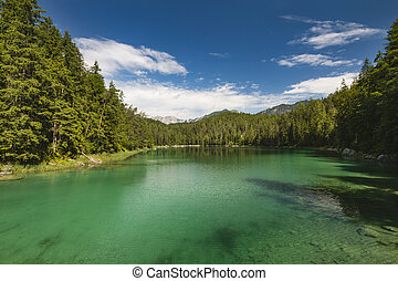 Green Lake Eibsee Near Garmisch, Germany - The intensely...