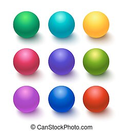Collection of colorful glossy spheres - Setof colorful...