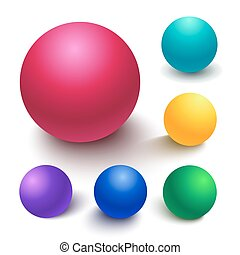 Realistic vector spheres - Set of colorful spheres, matte...