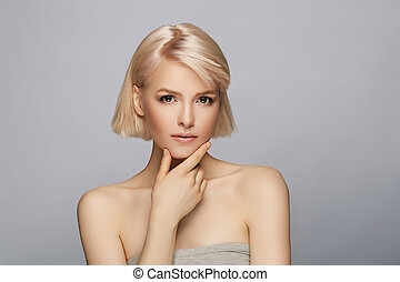 Beautiful blond hair woman