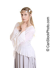 isolated female elf with crown