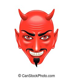 Devil face isolated on white vector - Devil face isolated on...