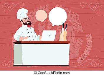 Chef Cook Working At Laptop Computer Cartoon Restaurant...