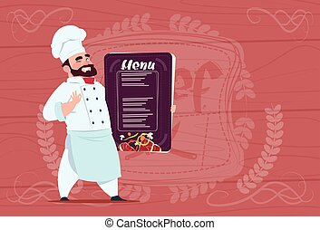 Chef Cook Holding Restaurant Menu Smiling Cartoon Chief In...