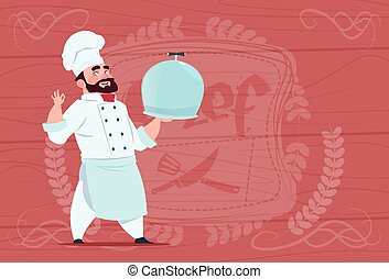 Chef Cook Holding Tray With Dish Smiling Cartoon In White...
