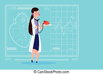 Female Doctor Cardiologist Examining Heart With Stethoscope...
