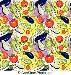 Seamless Pattern Different Vegetables Ornament Background