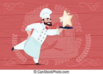 Chef Cook Hold Star Award Smiling Cartoon Restaurant Chief...