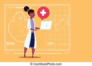 Female Doctor Hold Laptop Computer Online Consultation Medical Clinics African American Worker Hospital