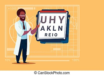 African American Doctor Ophthalmologist With Vision Test...