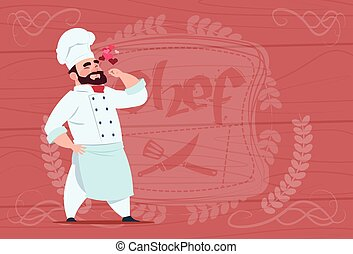 Chef Cook Happy Smiling Cartoon Restaurant Chief In White...