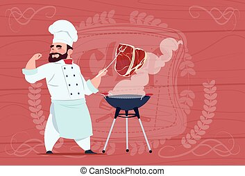 Chef Cook Grill Meat On Bbq Cartoon Restaurant Chief In...
