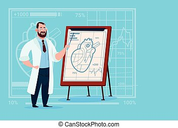 Doctor Cardiologist Over Flip Chart With Heart Medical...