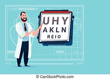 Doctor Ophthalmologist With Vision Test Medical Oculist...