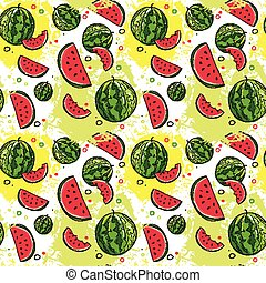 Seamless Pattern Watermelon Tropical Summer Ornament Background