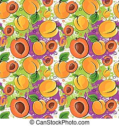 Seamless Pattern Apricot Fruits Summer Ornament Background...