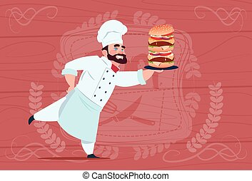 Chef Cook Hold Big Burger Smiling Cartoon Restaurant Chief...