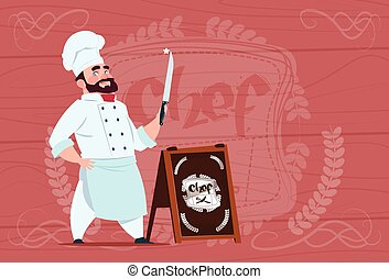 Chef Cook Holding Knife Smiling Cartoon Character In White...