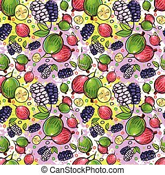 Seamless Pattern Different Fruits Summer Ornament Background...