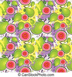 Seamless Pattern Guava Fruits Exotic Ornament Background...