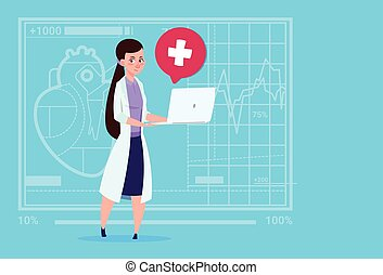Female Doctor Hold Laptop Computer Online Consultation Medical Clinics Worker Hospital