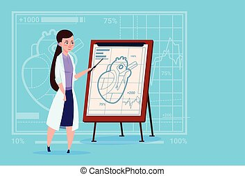 Female Doctor Cardiologist Over Flip Chart With Heart...