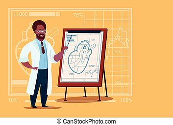 African American Doctor Cardiologist Over Flip Chart With Heart Medical Clinics Worker Hospital
