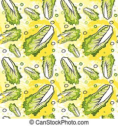 Seamless Pattern Nappa Cabbage Vegetables Ornament...