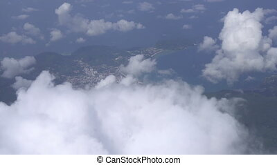 Flying through clouds - Traveling air above clouds. Airplane...
