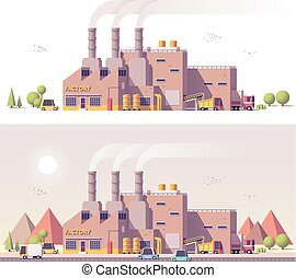 Vector low poly 2d factory scene