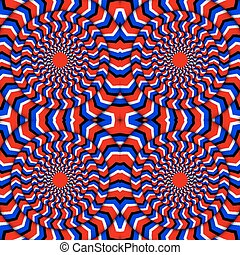 Hypnotic Of Rotation. Perpetual Rotation Illusion. Background With Bright Optical Illusions of Rotation. Optical Illusion Spin Cycle. Vector Illustration