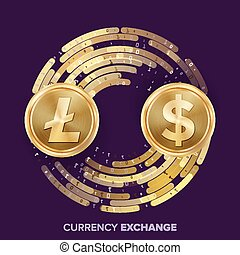 Digital Currency Money Exchange Vector. Litecoin, Dollar. Fintech Blockchain. Gold Coins With Digital Stream. Cryptography. Conversion Commercial Operation. Business Investment. Financial Illustration