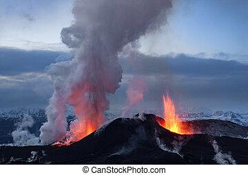 Volcano eruption in Eyjafjallajokull in Iceland