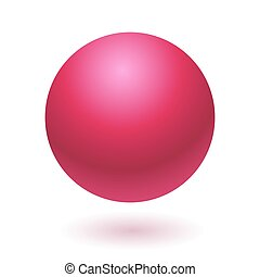 Pink glossy ball vector illustration isolated on white...