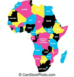 Political map of Africa continent in CMYK colors with national borders and country name labels on white background. Vector illustration