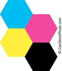 Four hexagons in CMYK colors. Printer theme. Vector...